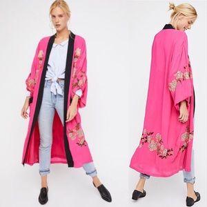 Free People Embroidered Kimono Hot Pink Sz M